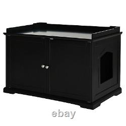Cat Hidden Litter Box Enclosure Bench Hall End Table Pet Kitty Cabinet Wood