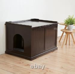 Cat House Extra Large Litter Box Enclosure Furniture Hidden Cabinet Covered Bed