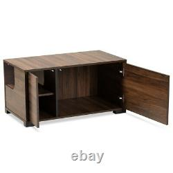 Cat Litter Box Cover / Cat House End Side Table Furniture Brown Rectangle 2 door