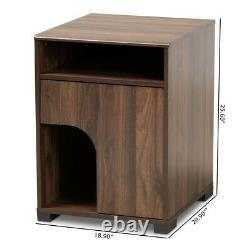 Cat Litter Box Cover / Cat House Side Table Furniture Walnut Brown Storage Shelf