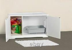Cat's Litter Box X- Large Cover Bench Wooden Furniture White