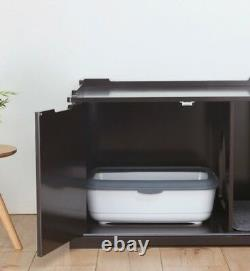Extra-Large Cat Litter Box Crate Enclosure Giant Kitty Privacy Cabinet Brown