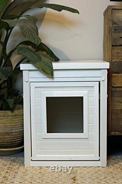 Kitty Litter Box Furniture Hidden Covered Enclosure Cat White End Table Sofa