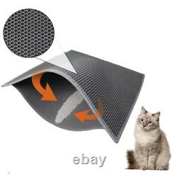 Large Flexible Grey Double Layer Cat Litter Mat Trapping Box 76 x 61cm Thick 1cm