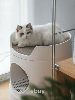 Mayitwill XL Castle 2 in 1 Front-Entry Semi-Closed Cat Litter Box with Scoop AU