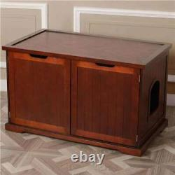 Merry Products Decorative Bench with Enclosed Cat Litter Box, Walnut (Open Box)