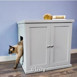 NEW Feline Kitty Cat Enclosed White Wood End Table Hidden Cabinet Litter Box