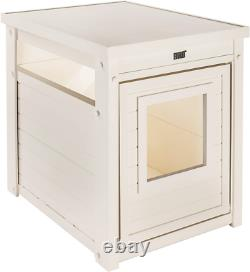 New Age Kitty Wooden Litter Box Hidden Covered Enclosure (Antique White)
