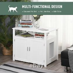 PawHut Wood Cat Litter Box Enclosure Furniture with Adjustable Interior Wall White