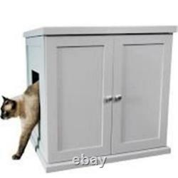 The Refined Feline RLB-SK Kitty Enclosed Wooden End Table & Litter Box Smoke