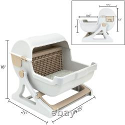 White Self Cleaning Cat Litter Box Premium Automatic Pan Lid Cover Toilet