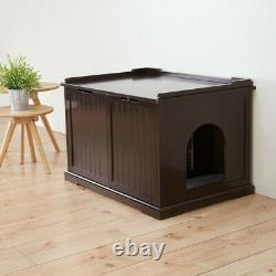 Boîte À Litière Pour Chats Extra-large Crate Enclosure Giant Kitty Privacy Cabinet Brown